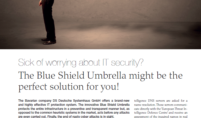 "Blue Shield Umbrella in der Oktober-Ausgabe des Magazins ""discover Germany, Switzerland & Austria""."